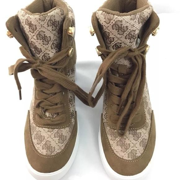 5e3831c6ae9 GUESS DAYLANA BROWN MULTI FABRIC WEDGE Sneaker